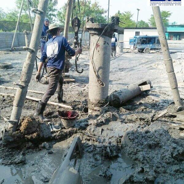 เสาเข็มเจาะ ขนาด 35 ซม. ทำศาลารอรถประจำทาง คลองถนน บางใหญ่ นนทบุรี -13