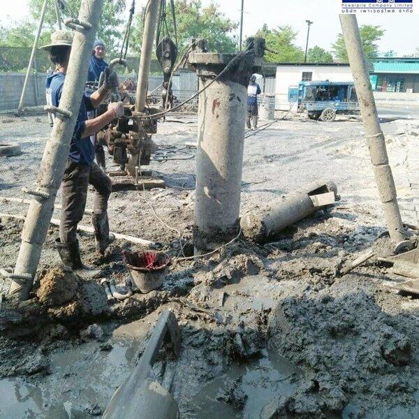เสาเข็มเจาะ ขนาด 35 ซม. ทำศาลารอรถประจำทาง คลองถนน บางใหญ่ นนทบุรี -14