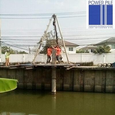 ศาลารอรถประจำทาง บางใหญ่ นนทบุรี เสาเข็มเจาะ ขนาด 35ซม. จำนวน 8ต้น